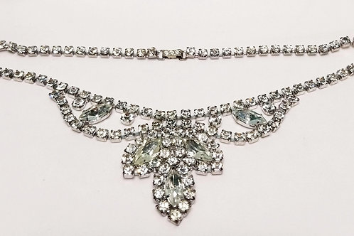 Designer by Penimo, neck wear, rhinestone necklace in silver tone pot metal