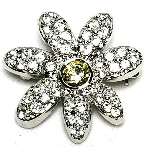 Designer by Swan, brooch, flower motif, clear rhinestones in silver tone.