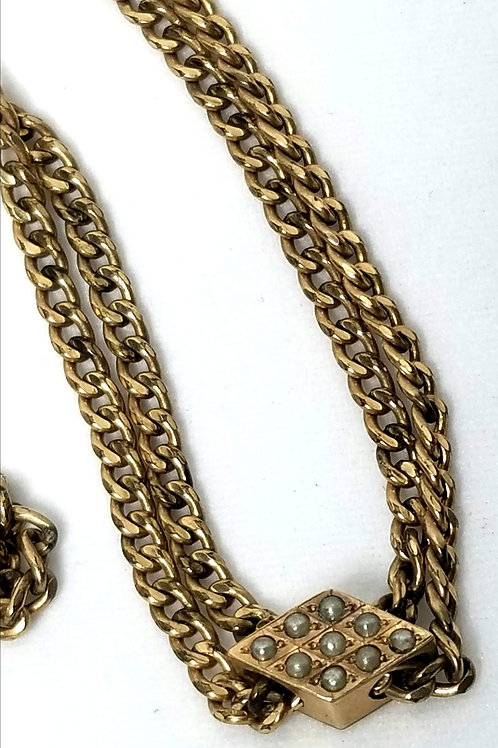 Designer by JFS Sons, fob, chain and slider with tiny seed pearls, in gold tone.