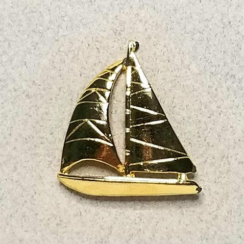 Designer by Provenance, tie tack, sailboat motif, gold tone, 7/8 inch.