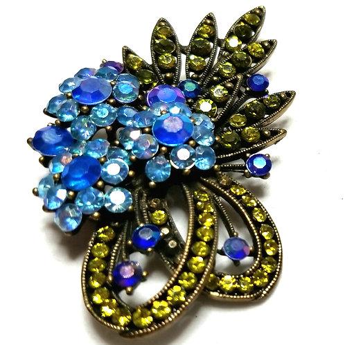 Designer by provenance, brooch, bouquet motif, multi color crystals, gold tone.