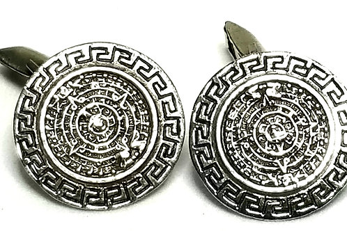 Designer by Provenance, cuff links, Mexican motif, .925 Sterling silver, 7/8 in.