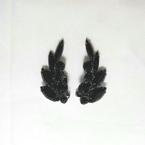 Juliana Earrings, clip-on, black rhinestones