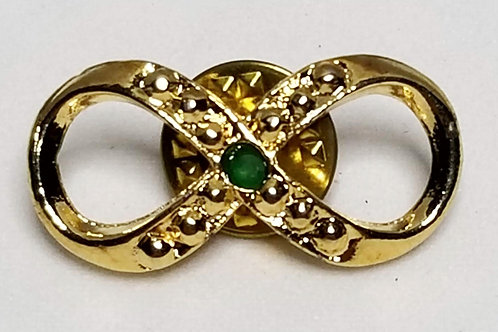 Designer by HC, tie tack, ribbon motif, clear and green rhinestones in gold tone