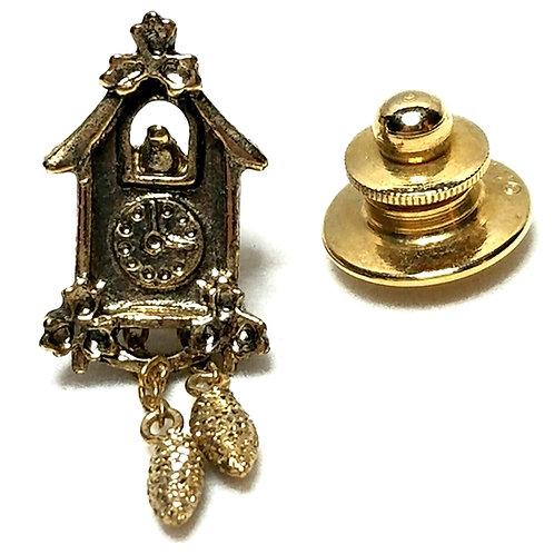 Designer by Swank, tie tack, Cuckoo clock motif, gold tone, 3/8 x 1 1/4 inch.
