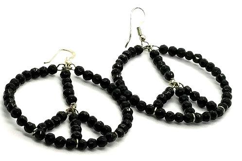 Designer by provenance, earrings, pierced wire drops, peace sign motif, black.