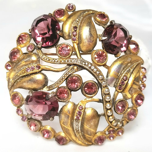 Designer by provenance, brooch, purple crystals with gold leaves 2 inch