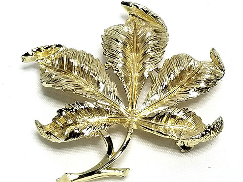 Designer by Coro, brooch, leaf motif, gold tone leaf brooch 2 x 1 3/8 inches.