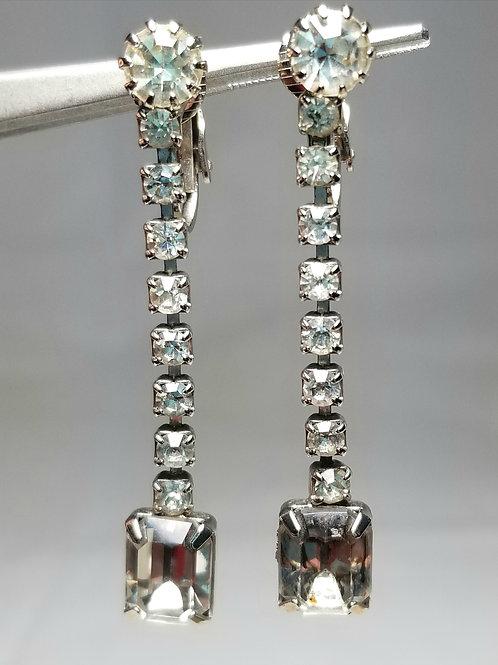 Earrings, designer by provenance, 2 inch rhinestone earrings, silver tone