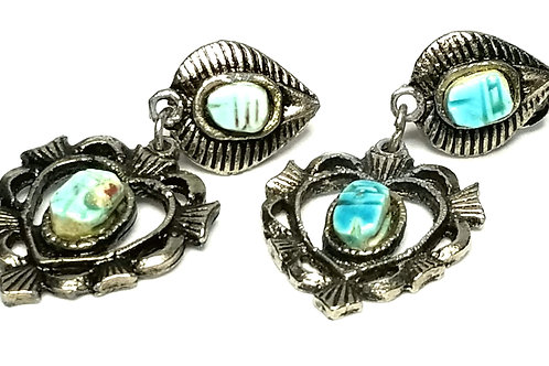 Designer by provenance, earrings, clip on, scarab motif, turquoise like stones.