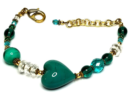 Designer by provenance, bracelet, heart motif, green, blue and clear beads.