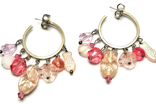 Designer by provenance, earrings, pierced hoops, pink beads, silver tone.