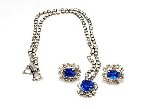 Neck wear, necklace and earrings, blue and clear rhinestones in silver tone