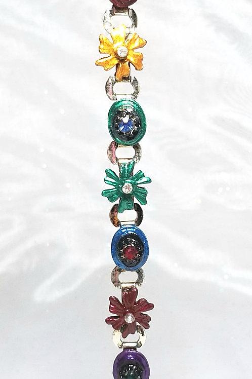 Designer by provenance, bracelet, enameled flowers motif with crystals 6 3/4