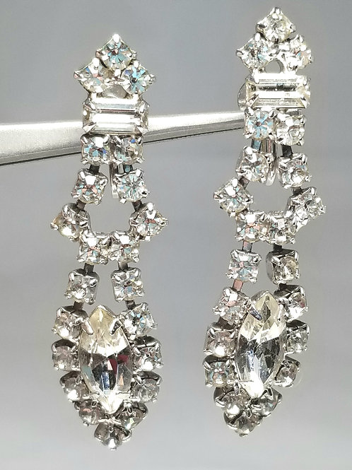 Earrings, rhinestone earrings, designer by provenance, 2 1/8 inches, silver tone