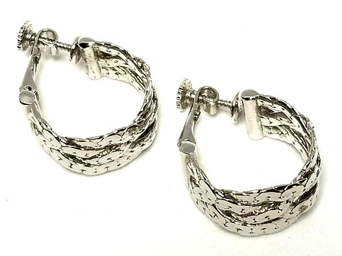 Designer by Napier, earrings, screw back, hoop style, silver tone 3/8 x 7/8 inch