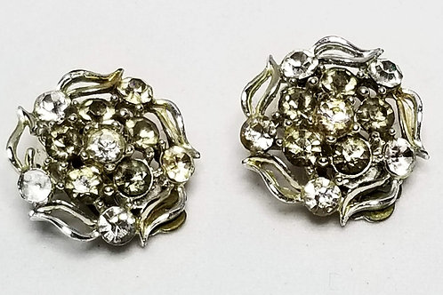 Designer by Lisner, earrings, clip on clear rhinestones flower motif silver tone