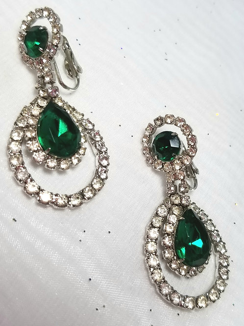 Designer by provenance, earrings, green and clear crystals, clip on dangle