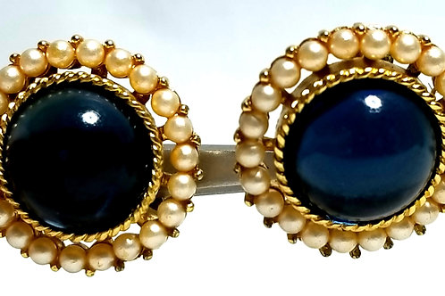 Designer by Crown Trifari, earrings, clip on, blue round glass cabochons.
