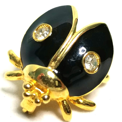 Designer by provenance, brooch, bug motif, black, faux pearl, clear rhinestones.