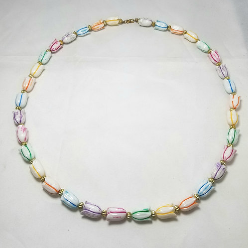 """Designer by provenance necklace, color accented tulip and gold tone beads, 24.5"""""""