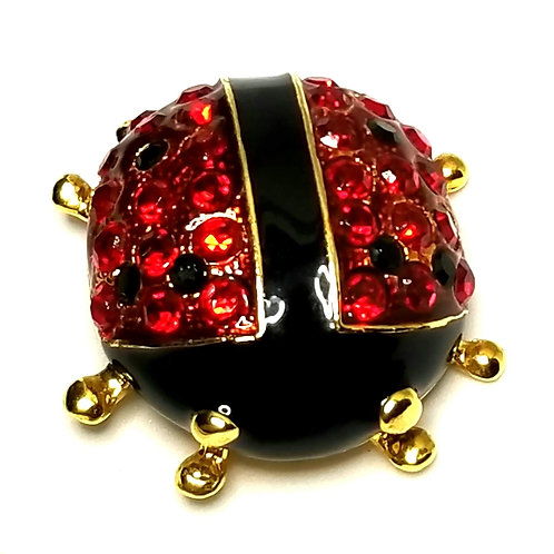 Designer by provenance, brooch, ladybug motif, red and black with stones.