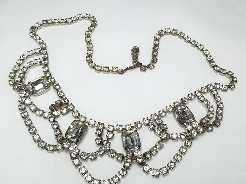 Neck wear, rhinestone choker necklace, 15 inches, silver tone