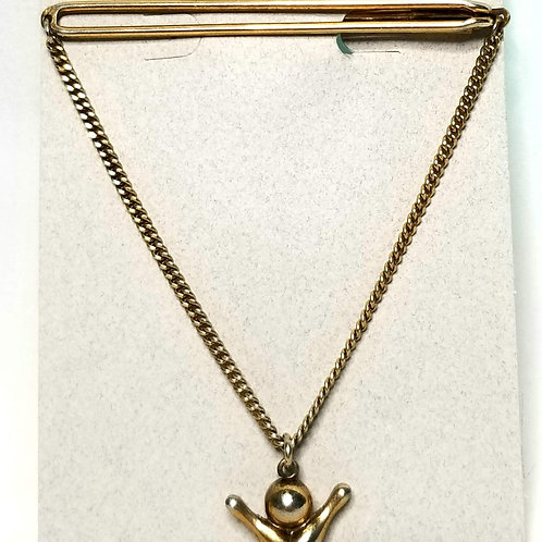 Designer by Provenance, tie bar with chain drop, bowling motif, gold tone.