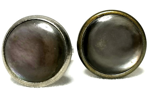 Designer by provenance, cuff links, abalone look stones in gold tone pot metal