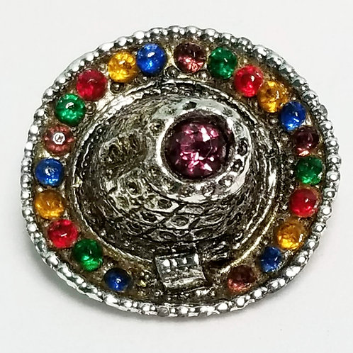 Designer by PA, brooch, multi colored sombrero in silver tone pot metal.