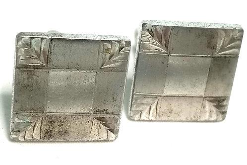 Designer by Speidel, cuff links, square, silver tone, 5/8 inch.