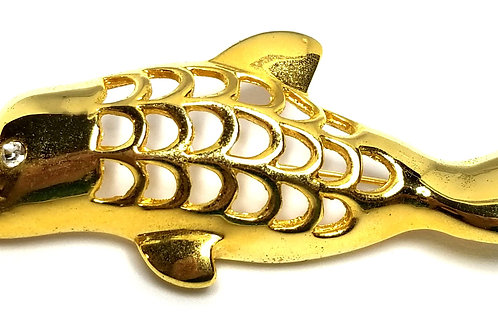 Designer by provenance, brooch, dolphin motif, gold tone 2 7/8 x 1 1/4 inch.