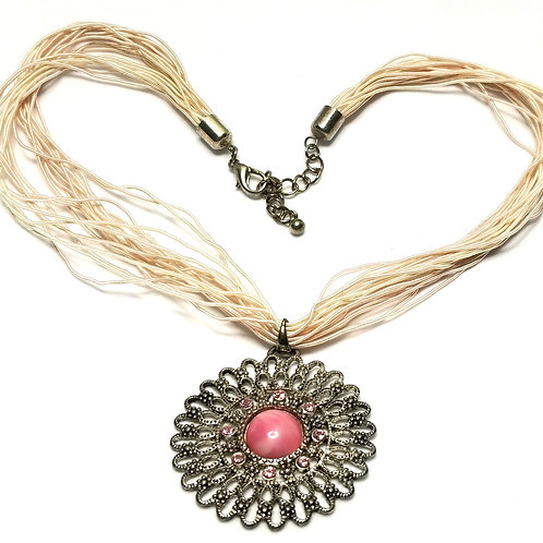Designer by provenance, necklace, corded, pink cabochon/rhinestones, silver tone