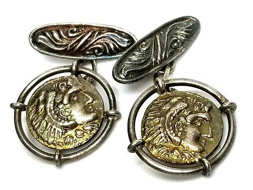 Designer by provenance, cufflinks, Indian head motif, silver tone, 3/4 inch.