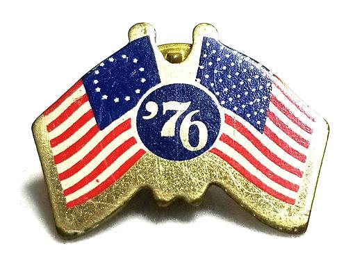 Designer by provenance, tie tack/pin, 1976 Bicentennial motif, multi color.