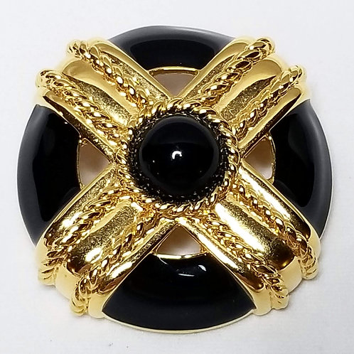 Designer by Monet, brooch, black enamel and gold tone 1 1/2 inches.