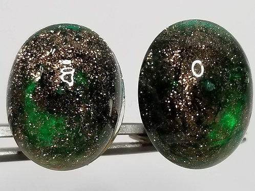 Designer by Italy. ear wear, green and gold clip on cabochon earrings in gold to