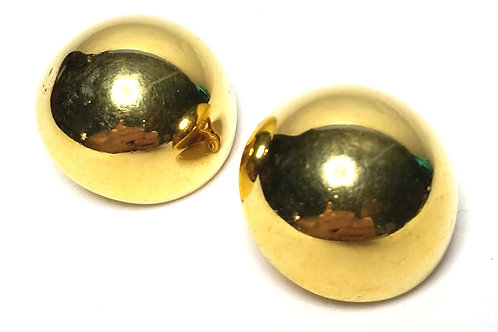 Designer by Monet, earrings, clip on, half dome motif, gold tone.