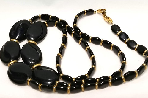 Designer by Napier, necklace, black and gold tone beaded necklace, 30 1/2 inches