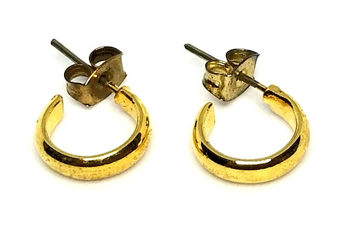 Designer by provenance, earrings, pierced hoops, gold tone, 7/16 inch.