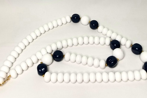 Designer by Monet, necklace, white and navy blue beads, gold tone, 34 inches.