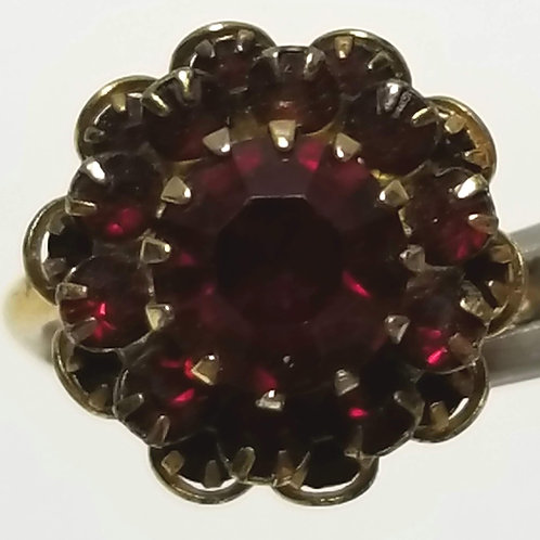 Designer By Sarah Cov, ring, adjustable flower motif, red stones in gold tone.
