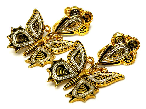 Designer by provenance, earrings, drops, screw back, butterfly motif, gold tone.