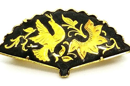 Designer by provenance, brooch, fan motif, black and gold tone, 1 1/2 inch.