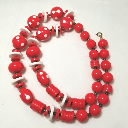Designer by provenance.  Red and white beads 25 inch necklace.
