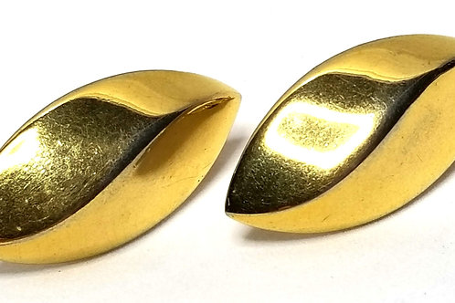 Designer by Napier, earrings, screw back, leaf motif, gold tone pot metal.