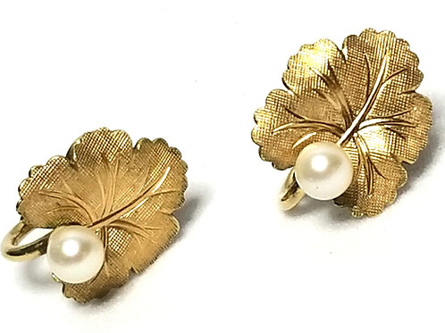Designer by A&Z, earrings, screw back leaf motif, white faux pearl in gold tone.