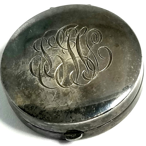 Designer by provenance, pendant, compact with mirror, monogrammed silver tone.