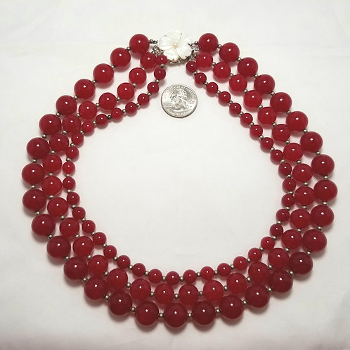 Designer by provenance necklace, 3 strand red carnelian, MOP, pearl clasp