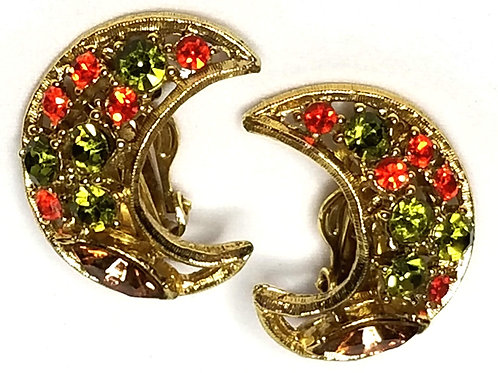 Designer by Provenance, Juliana style, earrings, clip on multi color stones.